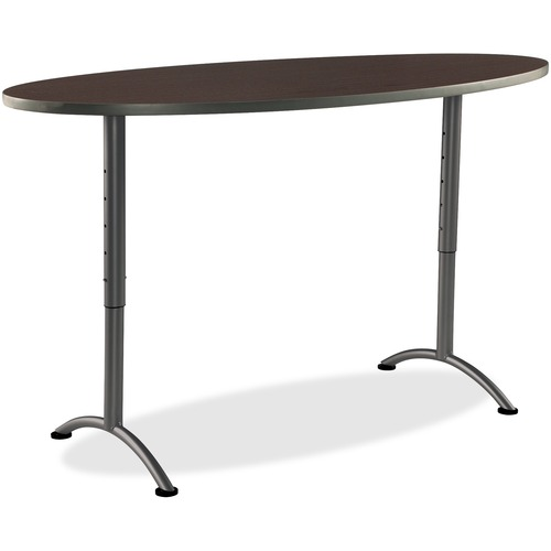 Order Adjustable Height Table Oval Walnut Arc