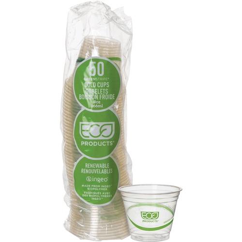 GreenStripe Renewable & Compostable Cold Cups Convenience Pack- 9oz., 50/PK EPCC9SGSPK