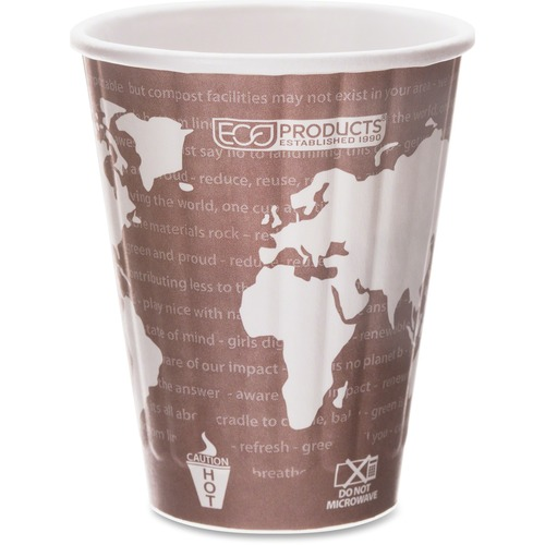 World Art Renewable & Compostable Insulated Hot Cups -8oz., 40/PK, 20 PK/CT EPBNHC8WD