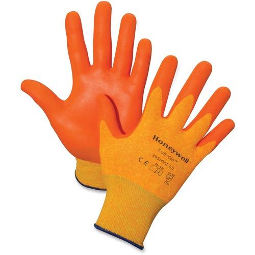Honeywell Tuff-Glo Hi-Viz Safety Gloves - Large Size - Nylon Liner, Nitrile Palm, Nitrile Fingertip - Orange - Cut Resistant, Abrasion Resistant, Puncture Resistant, Durable,