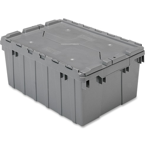 Image of Akro-Mils Attached Lid Storage Container Office supply AKM39085GREY Akro-Mils