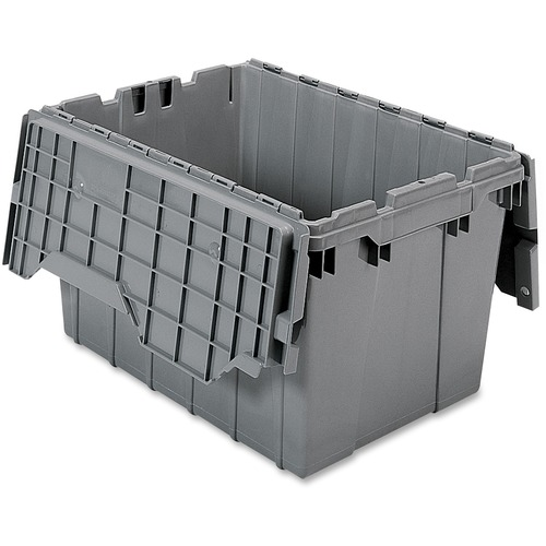 Image of Akro-Mils Attached Lid Storage Container Office Supplies AKM39120GREY Akro-Mils