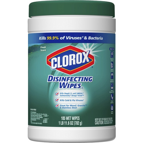 Clorox Disinfecting Wipes - Wipe - Fresh Scent - 105 / Canister - 105 / Each - White