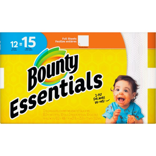 Bounty Essentials Paper Towel Rolls - 2 Ply - 50 Sheets/Roll - White - For Kitchen - 12 Rolls Per600 Sheets PerCarton - 600 / Carton