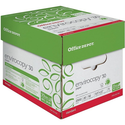 Office Depot Envirocopy Paper Letter Size 8 1 2 X 11 20 Lb 30 Recycled Fsc Certified Ream Of 500 Sheets Case Of 5 Reams