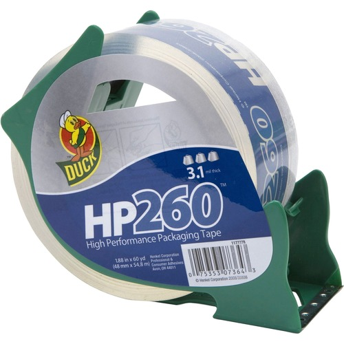 """Duck Brand HP260 Packing Tape - 2"""" Width x 60 yd Length - 3"""" Core - 3.10 mil - Adhesive Backing - Dispenser Included - 1 Roll - Clear"""