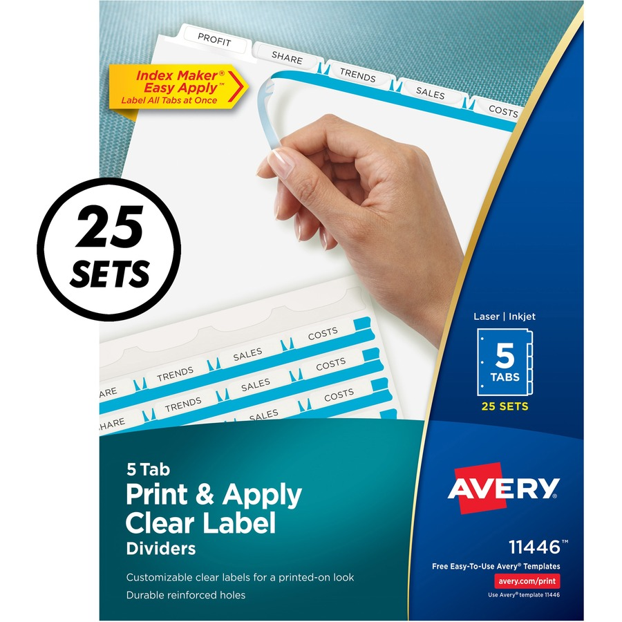 avery index maker print apply clear label dividers with white tabs 5 tabsset 85 divider width x 11 divider length letter 3 hole punched