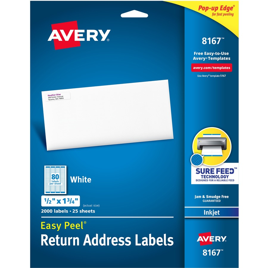 Avery Easy Peel Return Address Labels With Sure Feed Technology 1 3 4 Width X 1 2 Length Rectangle Inkjet White 80 Sheet 2000