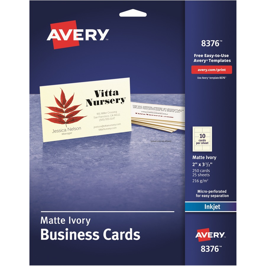 Avery business card icc business products office products avery business card a8 2 x 3 12 0 recycled content matte 250 pack ivory reheart Image collections