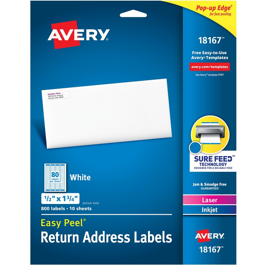 Avery White Easy Peel Address Labels; AVE 18167 - RROfficeSolutions.com