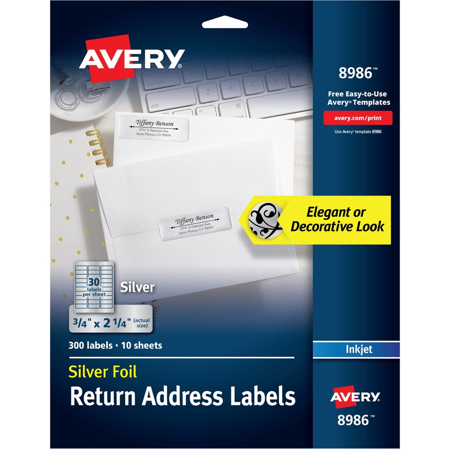 avery foil return address labels yuletide office solutions
