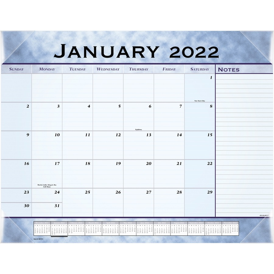 At A Glance Slate Blue Monthly Desk Pad Calendar Aag89701