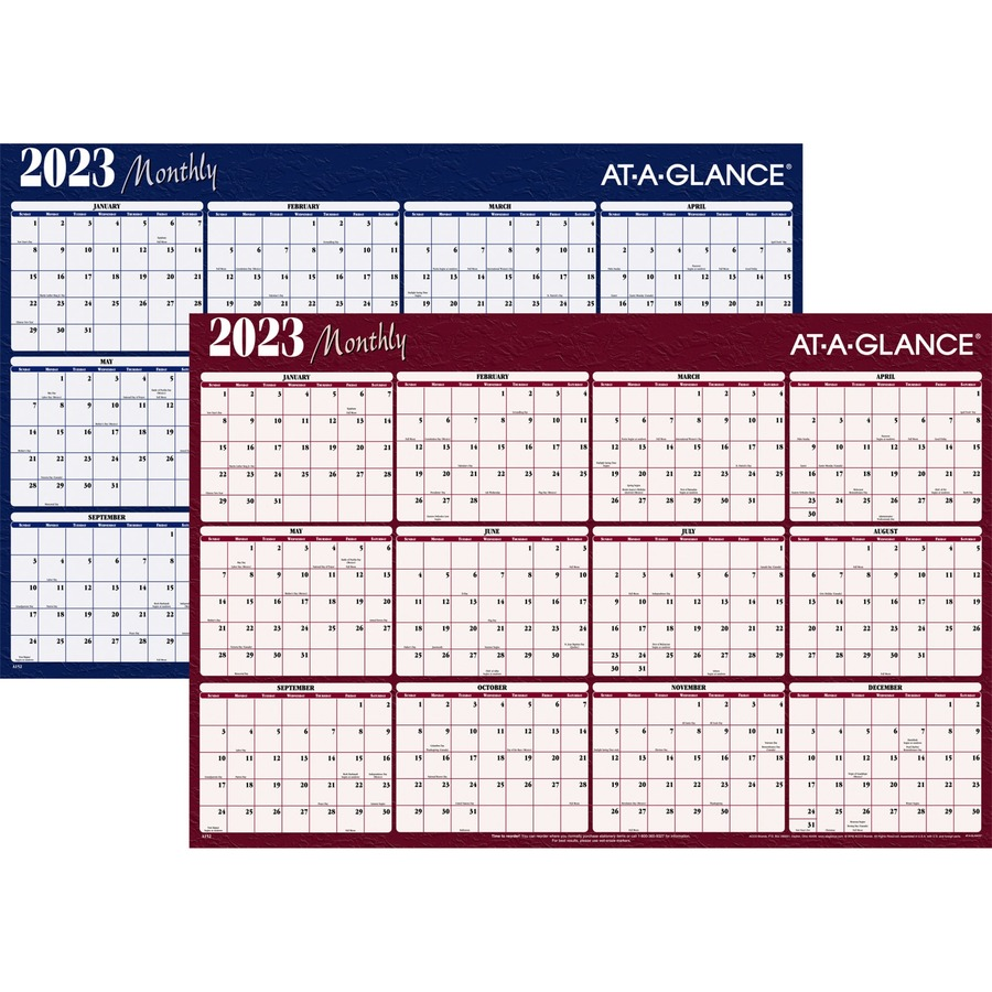 At A Glance Erasable Reversible Horizontal Yearly Wall Planner