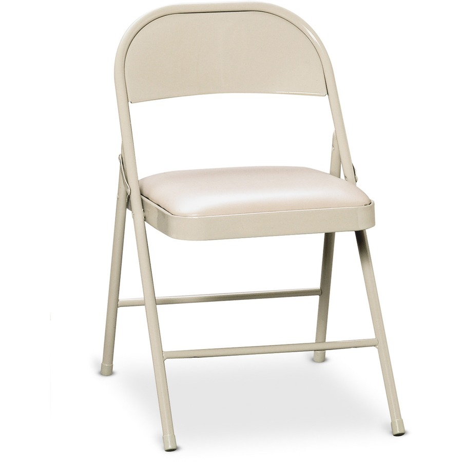 hon hfc02 steel folding chair vinyl light beige seat steel beige