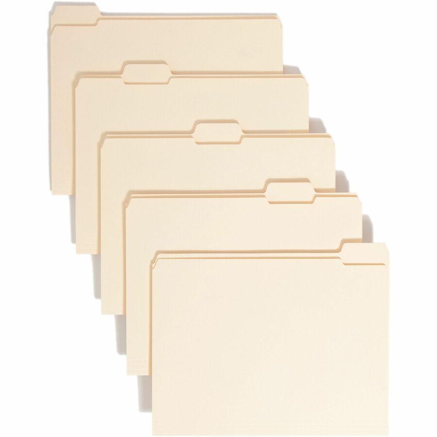 Assorted Manila File Folder Reinforced Tabs Letter Size 1//3 Cut