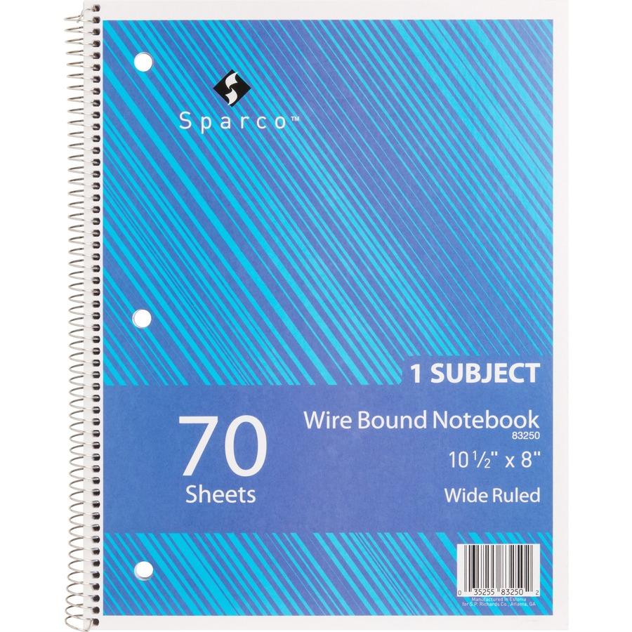 Sparco Quality Wirebound Wide Ruled Notebooks Spr83250