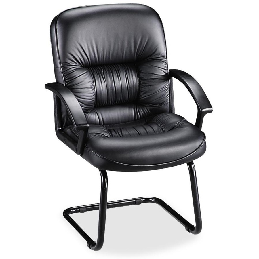 lorell tufted leather executive guest chair. Black Bedroom Furniture Sets. Home Design Ideas