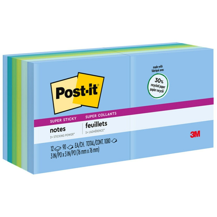 Post-it Super Sticky Recycled Notes, 3 in x 3 in, Bora Bora Color  Collection - 1080 - 3