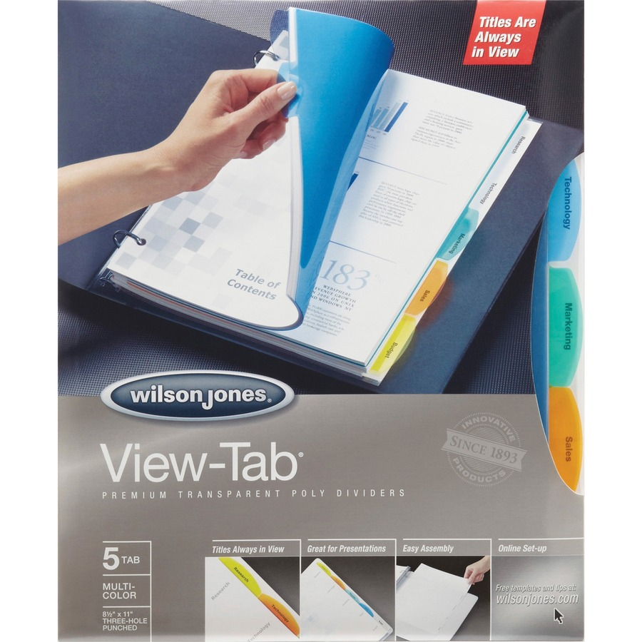 Wilson jones view tab transparent dividers 5 tab set for Templates wilson jones 8 tabs