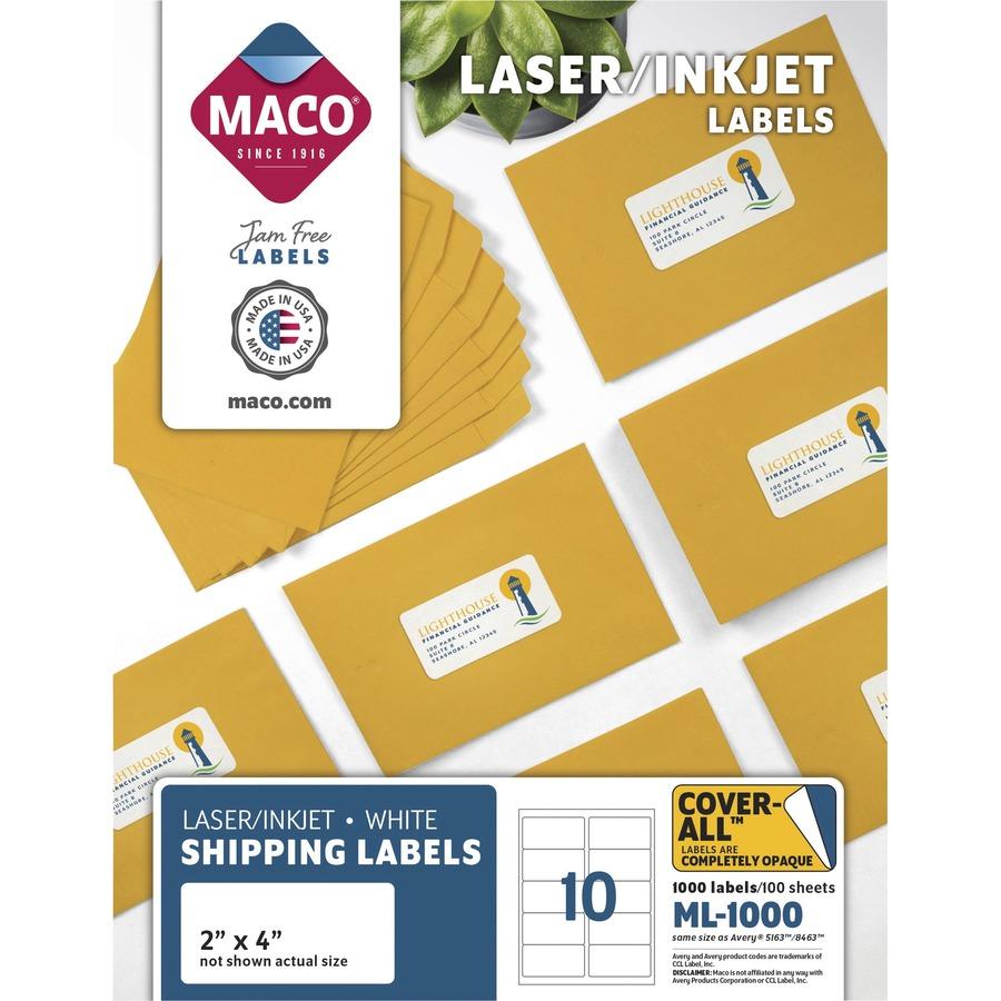 MACO White Laser/Ink Jet Shipping Label - 2