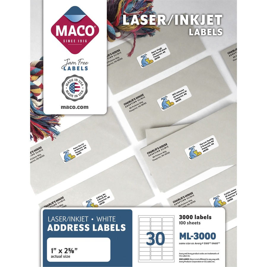MACO White Laser/Ink Jet Address Label MACML3000