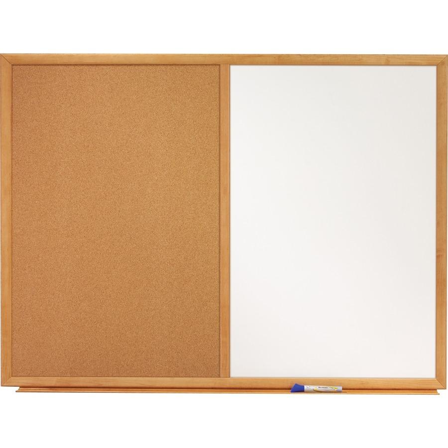 Quartet Standard Combination Whiteboard Cork Bulletin Board  Oak Finish Frame 48 4 Ft Width X 36 3 Ft Height White Melamine Surface Oak