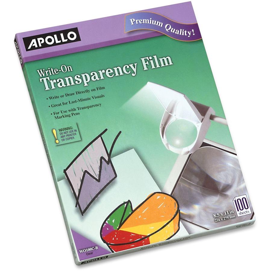 Apollo Reg Write On Transparency Film 100 Sheets Apowo100cb