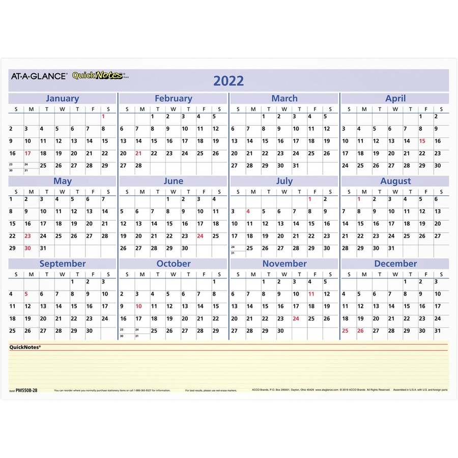 at a glance pm550b 28 at a glance quicknotes compact wall calendar