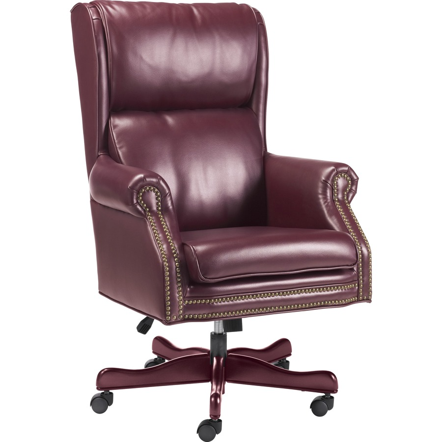 Super Lorell Traditional Executive Swivel Tilt Chair Vinyl Oxblood Seat Hardwood Mahogany Frame 5 Star Base Wood 29 Width X 32 Depth X 47 Machost Co Dining Chair Design Ideas Machostcouk