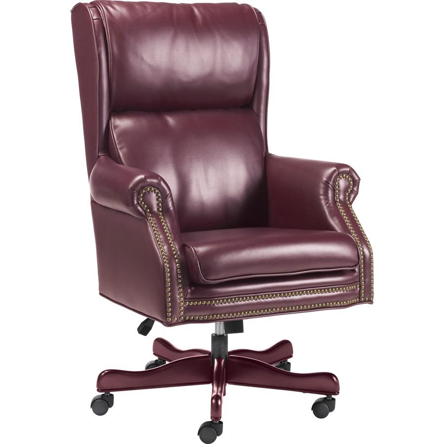 Incredible Lorell Traditional Executive Swivel Tilt Chair Vinyl Oxblood Seat Hardwood Mahogany Frame 5 Star Base Wood 29 Width X 32 Depth X 47 Evergreenethics Interior Chair Design Evergreenethicsorg