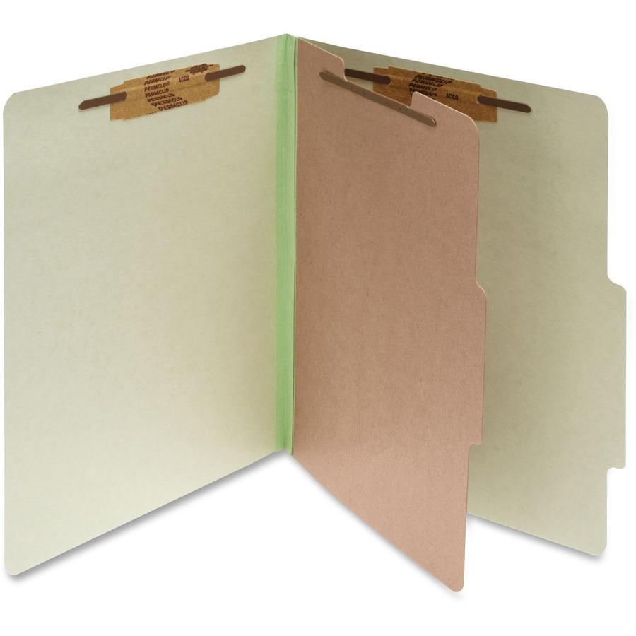 ACCO Classification Folders with Fasteners Green Letter Size A7015044 10 per Box Pressboard 4-Part