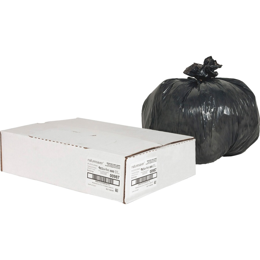 Nature Saver Black Low-density Recycled Can Liners - Small Size - 10