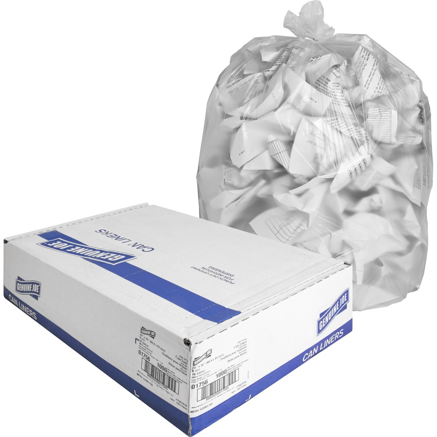 Genuine Joe High-density Can Liners - Small Size - 16 gal - 24