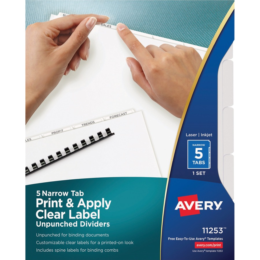 avery index maker narrow tab print apply clear label dividers