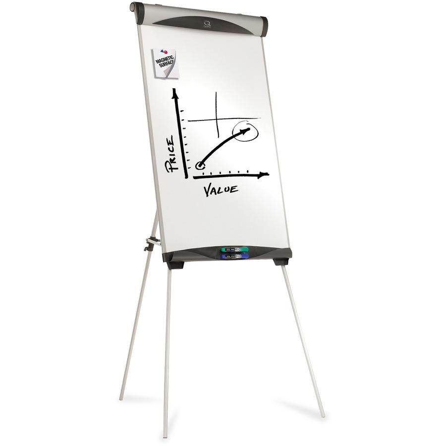 Quartet Euro Magnetic Presentation Easel 27 2 2 Ft Width X 39 3 3 Ft Height Silver Frame Rectangle Floor Standing Tabletop 1