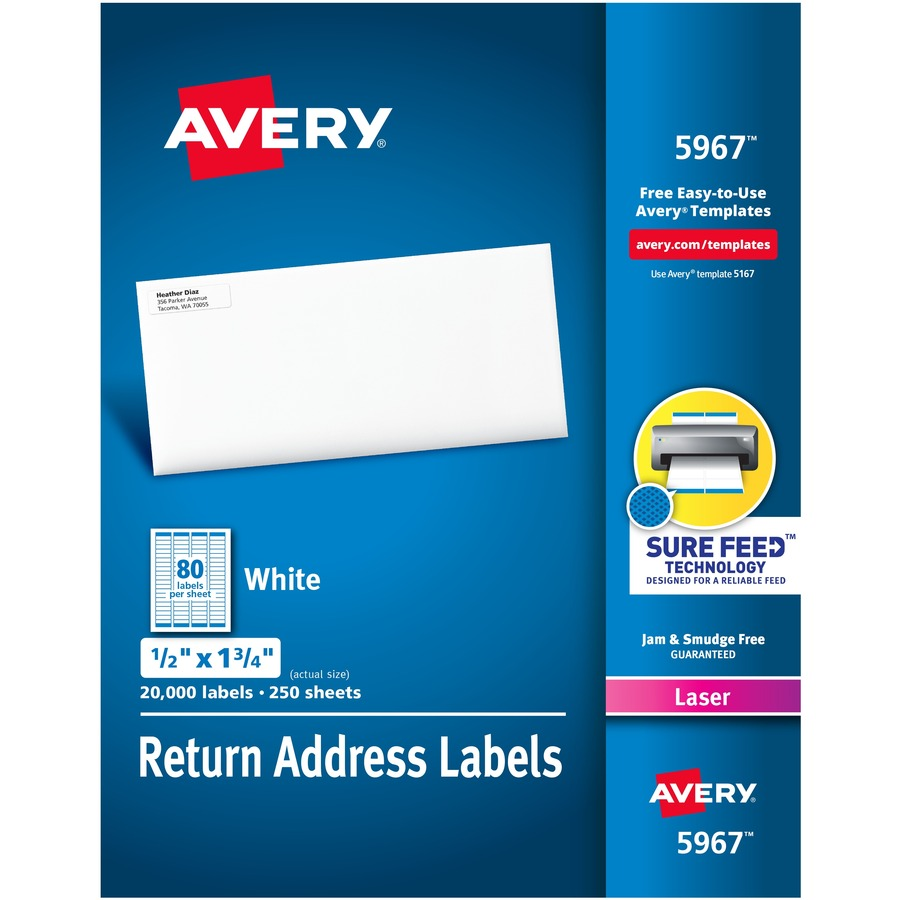 Address Labels With Sure Feed For Laser Printers 1 X 2 5 8: Avery® Return Address Labels With Sure Feed™ Technology