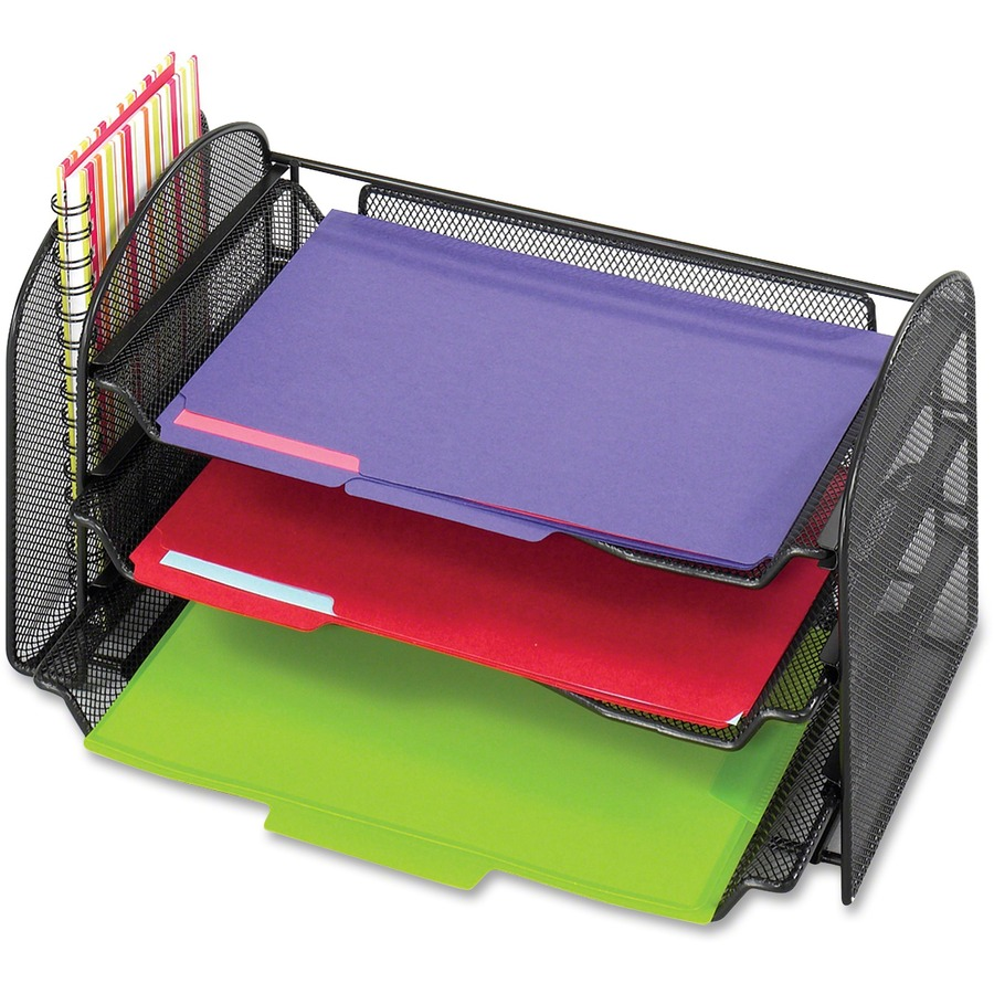 Safco Onyx 1 Upright 3 Tray Mesh Desk Organizer Saf3265bl