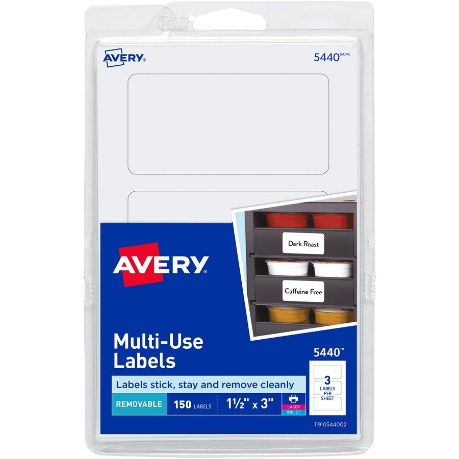 Avery® Removable ID Labels - Removable Adhesive - 3