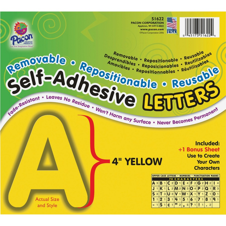 Discount price on pacon self adhesive removable letters for Self adhesive letters for walls