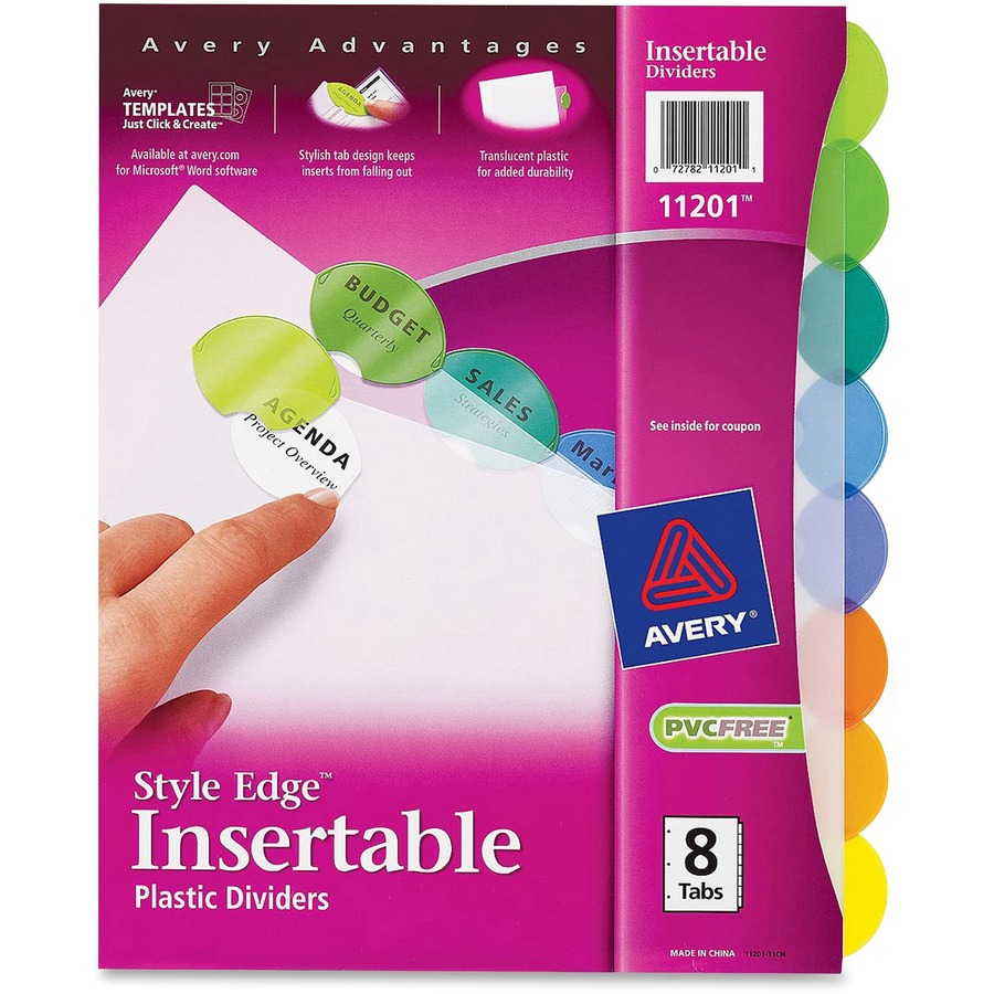 Avery 11201, Avery Style Edge Clear Plastic Insertable Divider ...