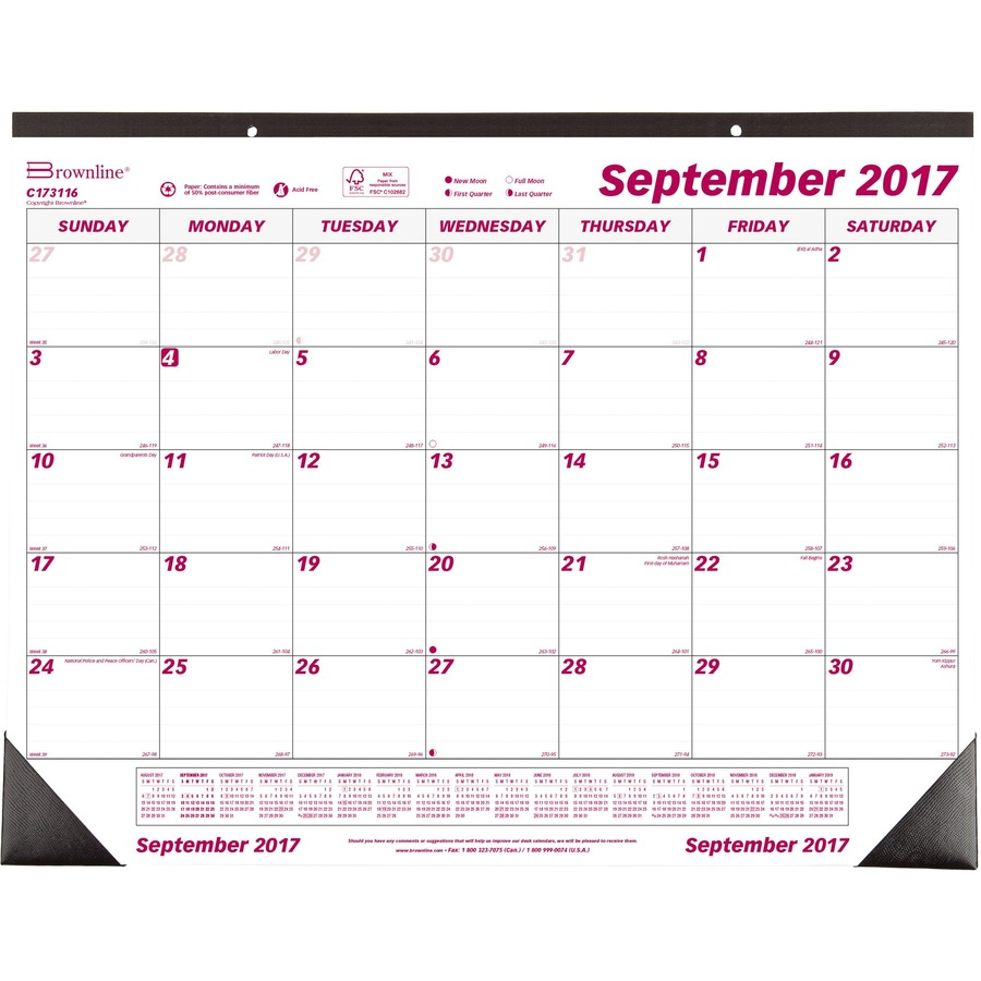 Weekly Calendar Desk Pad : Brownline monthly desk wall calendar