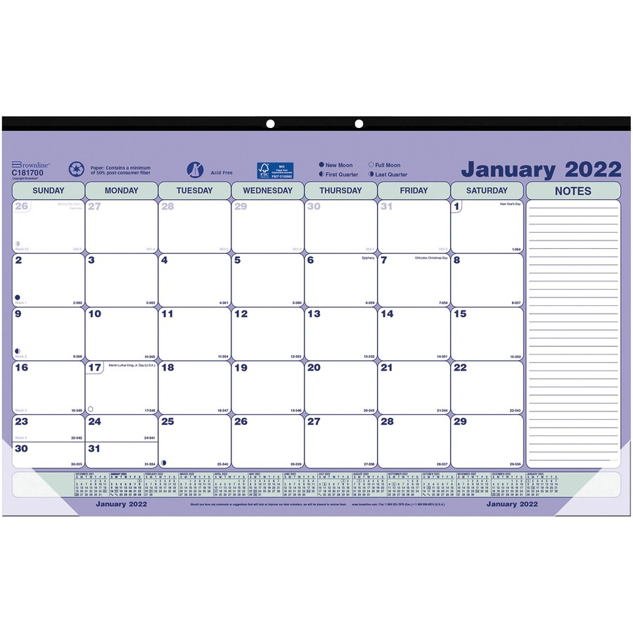 Brownline Monthly Desk Pad Wall Calendar Red C181700