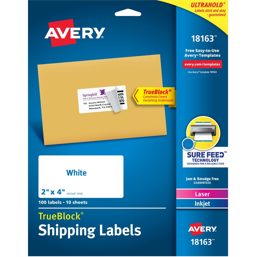 Avery Reg Shipping Labels With Trueblock Technology Ave18163