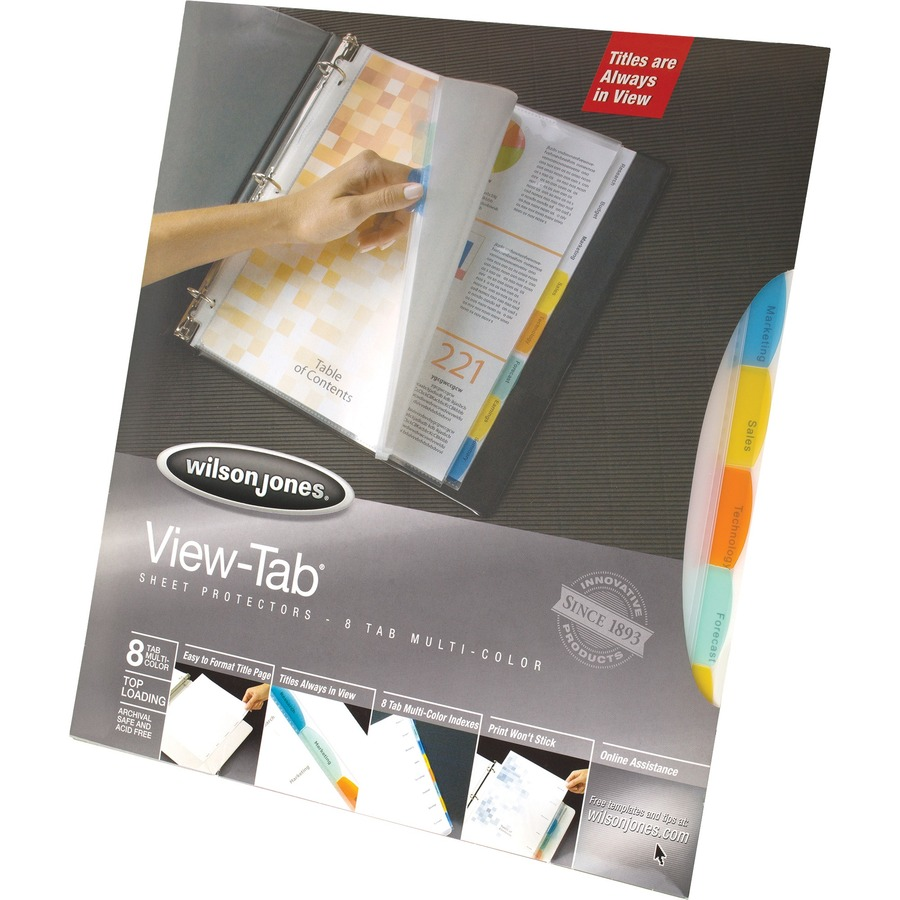 Wilson jones view tab sheet protectors easy organize 8 for Templates wilson jones 8 tabs