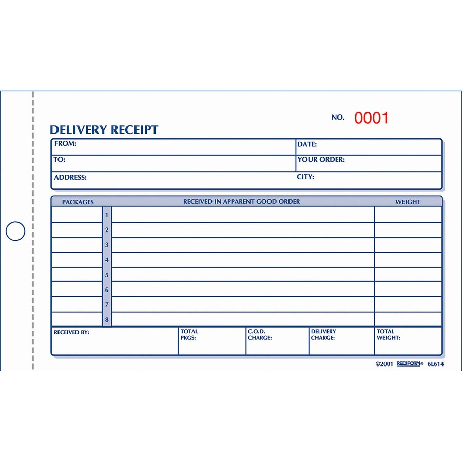 Rediform Carbonless Delivery Receipt Books