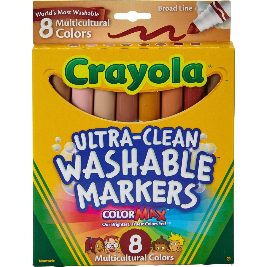 Crayola Multicultural Washable Markers - Conical Marker Point Style -  Assorted - 8 / Set