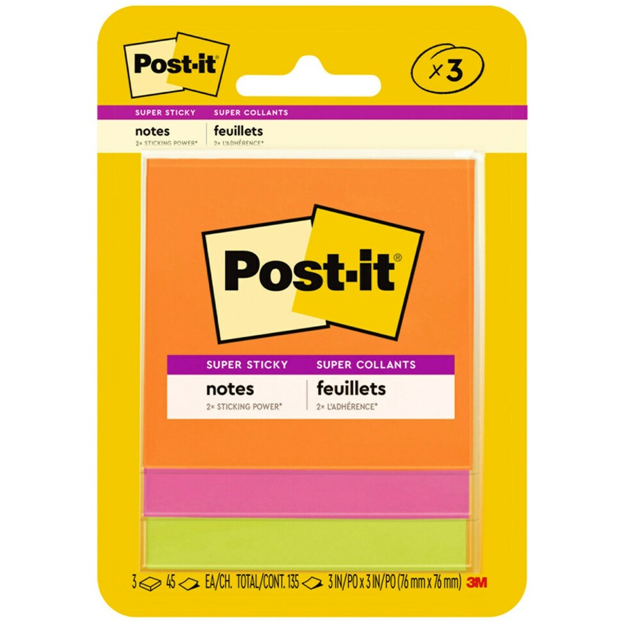 Post It 3x3 Super Sticky Jewel Pop Coll Notes