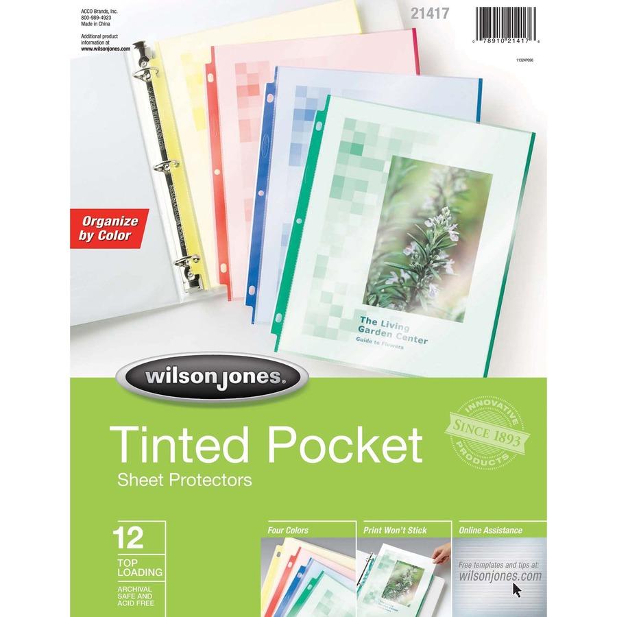 Wilson Jones Reg Tinted Pocket Sheet Protectors Orted Colors 12 Pack Wlj21417