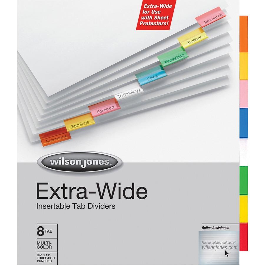 WLJ55208 - Wilson Jones® Oversized Insertable Dividers, 8-Tab Set ...