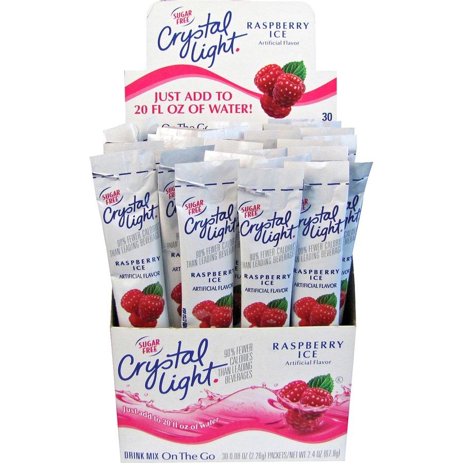 Crystal Light On-The-Go Raspberry Mix Sticks - Powder - Raspberry Ice  Flavor - 0 08 oz - 30 / Box